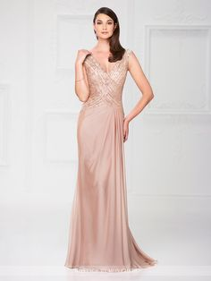 Montage by Mon Cheri - 117905 - Two-tone chiffon slim A-line gown with slight cap sleeves, front and back V-necklines, bodice encrusted with hand-beading, side draped skirt with pleating, sweep train. Matching shawl included.Sizes: 4 – 20Colors: Light Taupe, Black