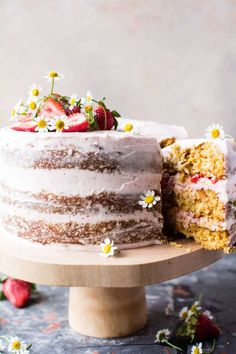 Three coconutty, carrot cake layers, frosted generously with the most delicious whipped mascarpone buttercream, and topped with fresh spring strawberries. Food Cakes, Cupcake Cakes, Cupcakes, Baking Recipes, Cake Recipes, Dessert Recipes, Half Baked Harvest, Savoury Cake, Let Them Eat Cake