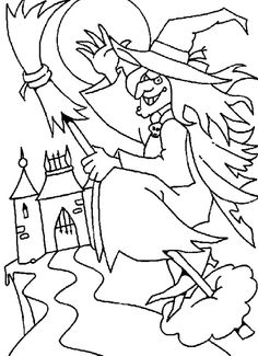 Halloween color page. Holiday coloring pages and Seasonal coloring pages. Coloring pages for kids. Thousands of free printable coloring pages for kids! Halloween Coloring Pictures, Free Halloween Coloring Pages, Witch Coloring Pages, Spring Coloring Pages, Halloween Pictures, Printable Coloring Pages, Adult Coloring Pages, Coloring Pages For Kids, Coloring Books