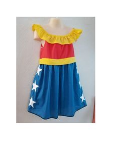 Girls 2T-8 Wonder Woman Inspired Dress Shirt, Costume Disney Vacation Outfit, Girl Disney World, Superhero Dress up Kids Cosplay, DC comics