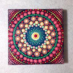 Original Red Mandala Painting on Canvas, Painting, Office and home ornament Henna art Gift Dotilism Dotart, Blue mandala