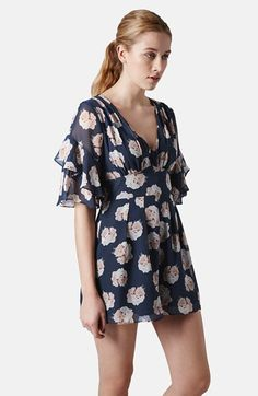 Topshop Ruffle Floral Chiffon Romper available at #Nordstrom