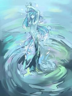 in water sprite drawing collection - ClipartXtras Water Aesthetic, Aesthetic Girl, Aesthetic Pastel, Anime Kunst, Anime Art, Fantasy Creatures, Mythical Creatures, Water Fairy, Fairy Drawings