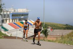 Athletes train at the Alatau Cross Country Skiing and Biathlon Stadium in Almaty, Kazakhstan. The ex-Soviet nation of Kazakhstan in Central Asia will be the first majority-Muslim country to host an Olympics if Almaty defeats its rival, Beijing, in voting July 31 to select the host venue of the 2022 winter games. (AP Photo/Pavel Mikheyev)
