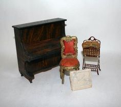 Early German Piano And Music Stand