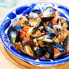 Mexican Mussels with Sausage, Mushrooms, and Chiles | Sunset Living: serv  with cilantro rice