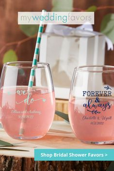 As a sweet gesture for coming to your bridal shower, send guests home with a functional gift that's classy and reusable. | Personalized Stemless Wine Glass 9 oz | My Wedding Favors