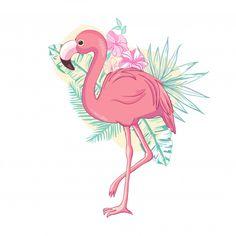 Flamingo bird design on background vector image on VectorStock Flamingo Tattoo, Flamingo Art, Flamingo Pattern, Pink Flamingos, Flamingo Wallpaper, Bird Illustration, Illustrations, Diy T Shirt Printing, Salon Art