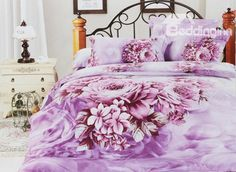 4 Piece Lilac Cotton Duvet Cover Bedding Sets with Brilliant Peony Blossom (10489491)