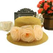 Rousha fiori crema solare cappello di paglia