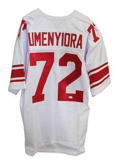 369f8ae0c1727 Osi Umenyiora New York Giants Autographed White Throwback Jersey - APE COA