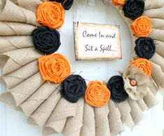 rolled flower halloween wreath....love...love...love this