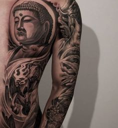 Men Chest And Sleeve Cover Up With Buddha And Lotus Flower Tattoo