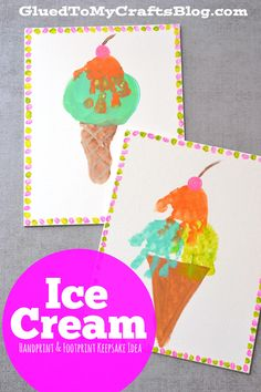 Handprint & Footprint Ice Cream Keepsake Idea - Summer Kid Craft