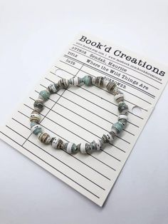 paper beads, paper bead jewelry, recycled paper beads, book beads, WHERE the WILD THINGS Are, maurice sendak, literary gifts, paper beads Paper Bead Jewelry, Paper Beads, Beaded Jewelry, Beaded Bracelets, Maurice Sendak, Just For You, Take That, Literary Gifts, Paper Book