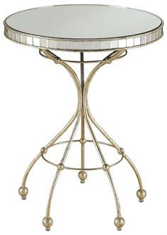 currey and co PRODUCT NAME: Corsica Side Table DIMENSIONS: 22rd x 28h FINISH: Harlow Silver Leaf/Antique Mirror