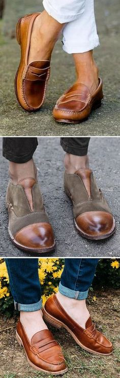 0ab022d321d Women Vintage Slip On Loafers Low Heel PU Leather Loafers