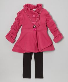 Take a look at this Fuchsia Ruffle Coat Set - Toddler & Girls on zulily today!