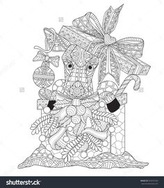 Little deer in the gift box for Christmas time. Zentangle stylized cartoon isolated on white background. Hand drawn sketch illustration for adult coloring book, T-shirt emblem,  logo or tattoo.