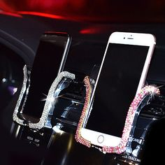 Universal Car Phone Holder with Bing Crystal Rhinestone Car Air Vent Mount Clip Cell Phone Holder for iPhone Samsung Car Holder. #Universal #Phone #Holder #with #Bing #Crystal #Rhinestone #Vent #Mount #Clip #Cell