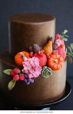 Chocolate Painted Cake  |  dramatically dark fall cake inspiration | by Erica OBrien for TheCakeBlog.com