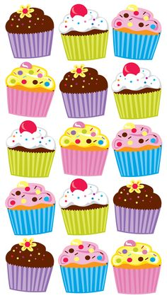 Sticko Stickers > Classic Stickers > Bright Cupcakes Sticko Stickers: Stickers Galore Cupcake Kunst, Cupcake Art, Birthday Board, Birthday Fun, Birthday Parties, Scrapbook Stickers, Scrapbook Supplies, Birthday Charts, Food Stickers