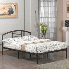 Hearts Attic Full size Platform Metal Bed Frame ($246) ❤ liked on Polyvore featuring home, furniture, beds, queen metal headboard, metal platform bed, twin storage bed, queen metal beds and adjustable beds
