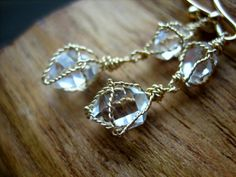 Brilliant Herkimer Diamond Wire Wrapped Earrings