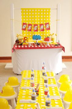 Tablescape & Dessert Table - Darling lego party dessert bar and table