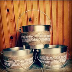 rustic candy bar for wedding | DIY rustic candy bar pales from paint cans | Wedding ideas