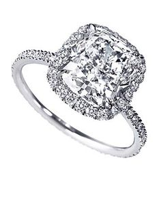 Cushion cut with pave setting engagement ring.... PERFECT!