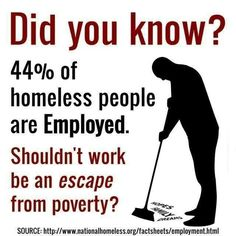 44% of homeless people are employed!
