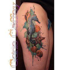 sea horse tattoo thigh piece by Gene Coffey