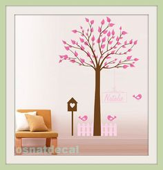Wall Decal Big Pink Tree And Bird Wall Sticker Total Size 130*180cm Home Decor Nursery