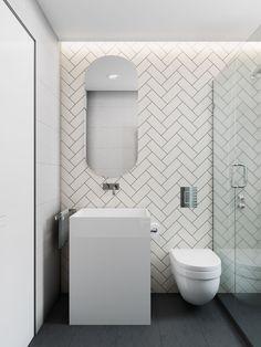 2 Simple, Modern Homes with Simple, Modern Furnishings Latest Bathroom Tiles, Bathroom Mirror Design, Simple Bathroom Designs, Small Space Bathroom, Bathroom Tile Designs, Modern Bathroom Design, Bathroom Interior Design, Minimalist Toilets, L Shaped Bathroom