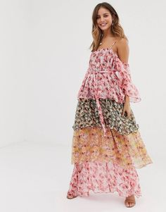 Buy White Sand contrast off shoulder tiered maxi dress in floral print at ASOS. With free delivery and return options (Ts&Cs apply), online shopping has never been so easy. Get the latest trends with ASOS now. Floral Print Maxi Dress, Lace Midi Dress, Maxi Dress With Sleeves, Maxi Dresses Uk, Plus Size Maxi Dresses, Maxi Skirts, Wedding Dresses, Maxi Dress Canada, Maxi Robes