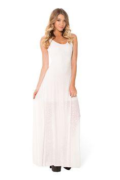 Burned Velvet White Maxi Dress