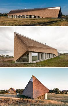 12 Examples Of Modern Houses And Buildings That Have A Thatched Roof // This long, single level house has a thatched roof running the length of it, with a long skylight in the middle to let in natural light throughout the day.