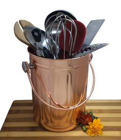 Utensil Holder Caddy Crock to Organize Kitchen Tools - Copper Kitchen Accessories – Large 1 Gallon Capacity *** New and awesome product awaits you, Read it now  : Utensil Organizers