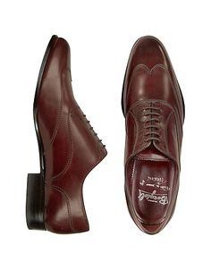Handmade Burgundy Italian Leather Wingtip Oxford Shoes #DesignerHandbags #DesignerShoes
