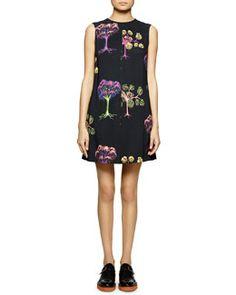 W05DE Stella McCartney Psychedelic Garden-Print Shift Dress