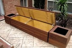 Diy Outdoor Bench With Storage Waterproof Deck Seating, Storage Bench Seating, Backyard Seating, Banquette Seating, Garden Seating, Outdoor Benches, Deck Benches, Seat Storage, Backyard Landscaping