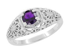 Filigree Flowers Amethyst Dome Edwardian Ring in 14 Karat White Gold - Customize it with any stone and your choice of metal! - $405 - http://www.antiquejewelrymall.com/rv709a.html