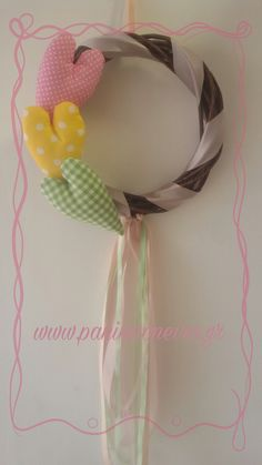 Handmade decorative mobile with fabric hearts!