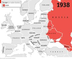 """""""mapsontheweb:  Russian Territory from 1938 to 2014 with Modern European Borders jsmaster99:   Source maps and accompanying article @ The Economist    """""""