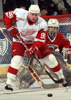 Tomas Holmstrom doing what he did best - making life miserable for opposing goaltenders.  #96.