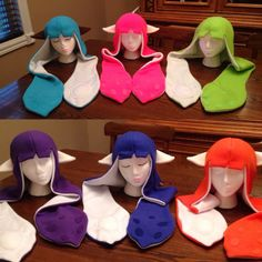 Youre a Kid Youre a Squid  These hats are perfect to finish off your Splatoon Cosplay, but its even more fun to wear while running around the house acting like a squid!!  -The hat is about 30in, top to the ends. -The ovals on the inside of the hat are lightly stuffed with polyester fiberfill.  -The spots on the outside are sewn on. *Made in a smoke free, smell good home! *This item is handmade by me! *This is Splatoon Inkling inspired hat.