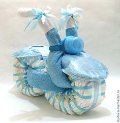 """Подарки для новорожденных, ручной работы. Ярмарка Мастеров - ручная работа. Купить Торт из подгузников """"Мотоцикл"""". Handmade. Голубой, торт из памперсов"""