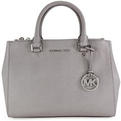 Michael Kors Sutton Satchel - Pearl Grey ($246) ❤ liked on Polyvore featuring bags, handbags, purses, michael kors, mk, grey satchel, michael kors handbags, man bag, michael kors purses and grey handbags