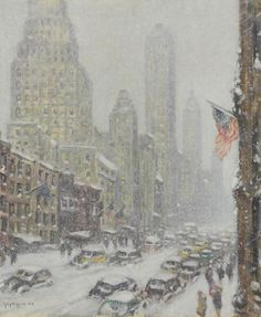 "Guy Carlton Wiggins.  (1883-1962). 57th Street. Oil on canvas. 25"" x 30"""